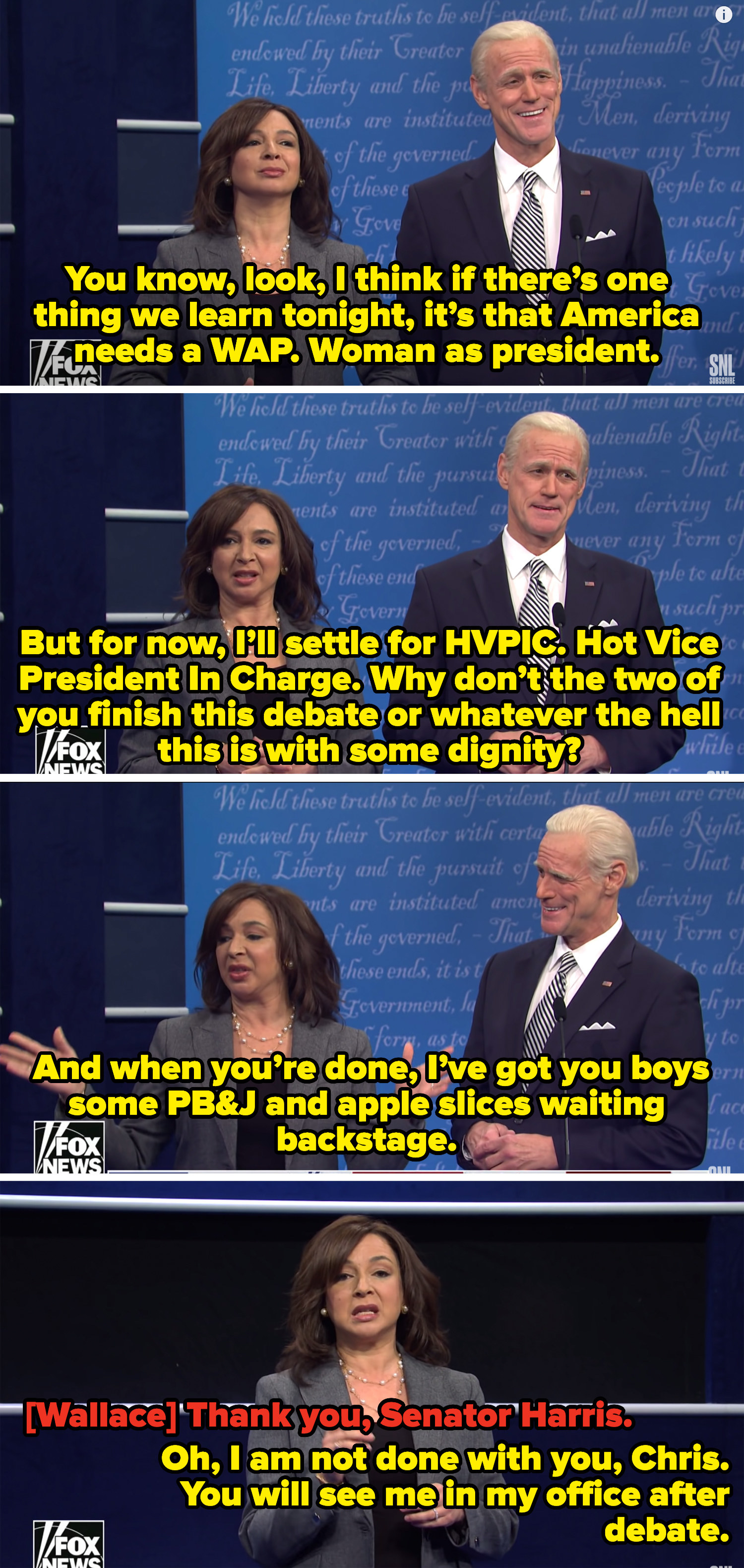 Rudolph as Harris talking about being the Hot Vice President In Charge, having snacks for the nominees backstage like a mom, and seeing Chris in her office after