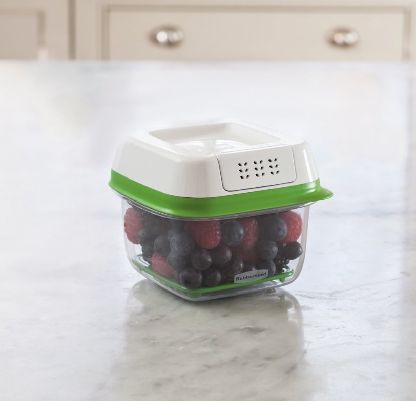 Small plastic container with blueberries and raspberries, white and green ventilated lid