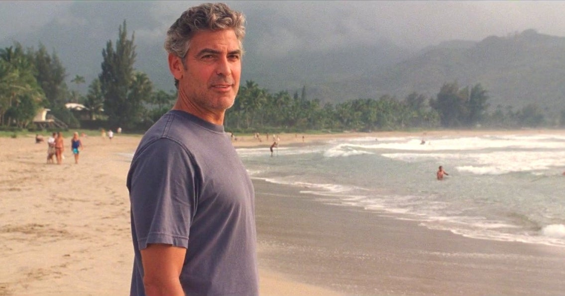 "george clooney on a beach in ""the descendants"""