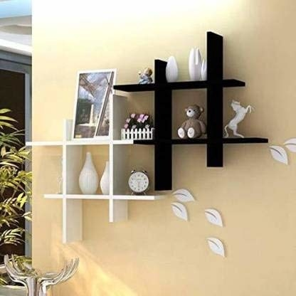 Eight shelf slabs (4 white, 4 black) that you can DIY to make cubicle-style shelves.