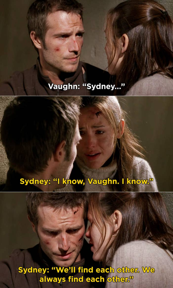 """Sydney whispering to Vaughn, """"We'll find each other. We always find each other"""""""