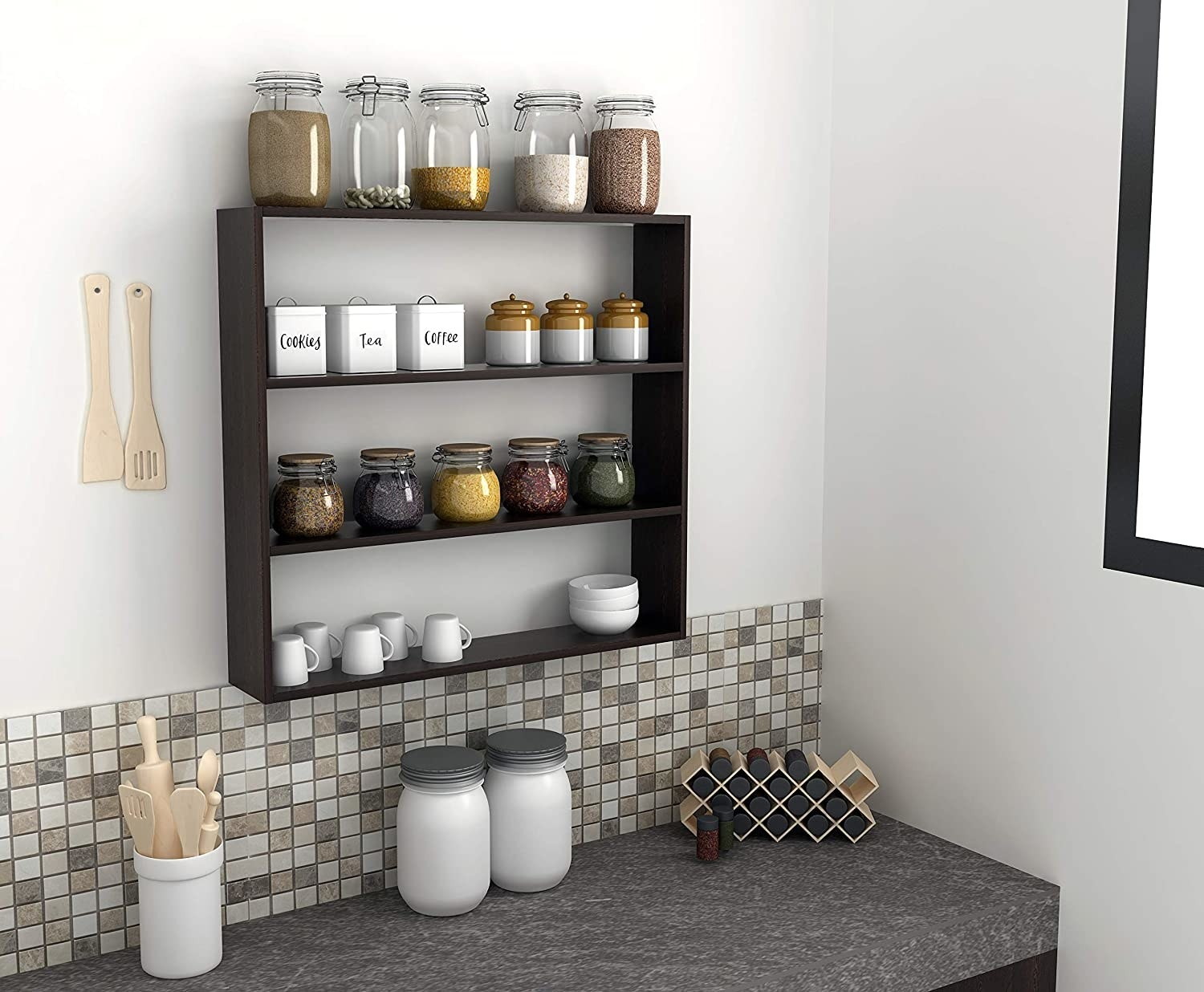 A large cube shelf with three shelf slots, pictured in a kitchen with pantry items on it.