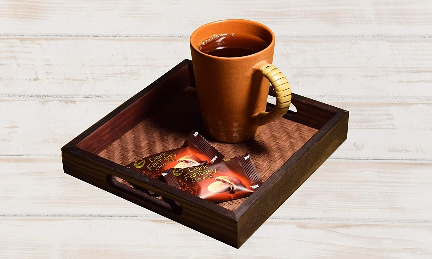 Tray with cookies and a coffee mug on it.