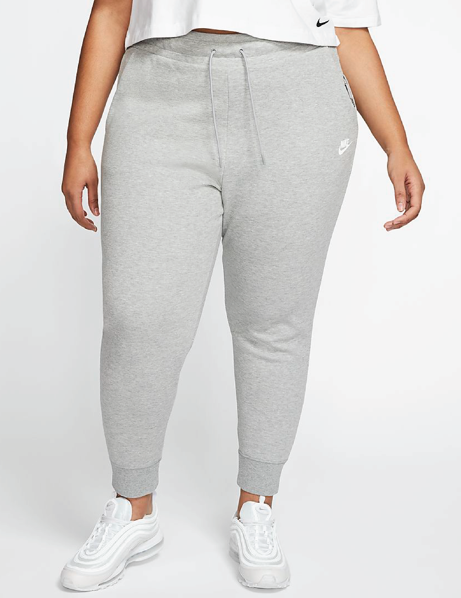 A model wearing the drawstring pants with ribbed cuffs