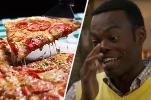 A slice of melty cheese pizza on the left and chidi from the good place on the right looking distressed