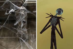 On the left, cobwebs on the exterior of a house, and on the right, Jack Skellington from