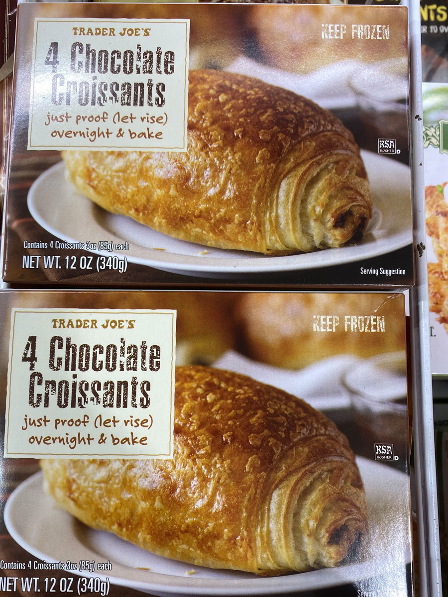 Two boxes of 4 chocolate croissants from Trader Joe's frozen aisle.