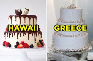 """On the left, a wedding cake with chocolate dripping down it, berries surrounding it, and two strawberries made to look like a bride and groom on top labeled """"Greece,"""" and on the right, a wedding cake with edible pearls on it labeled """"Greece"""""""