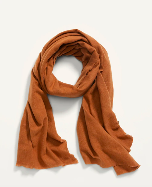 the scarf in rust color