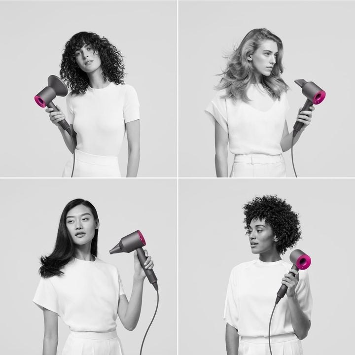 Four different models showing the different attachments you can use to blow dry all different types of hair