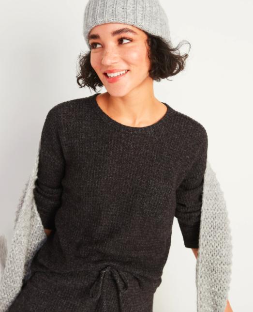the sweater in dark grey