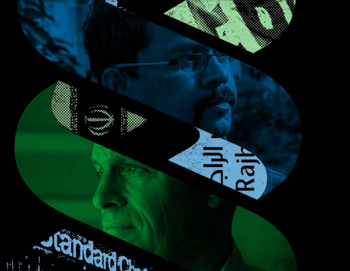 Images of Standard Chartered whistleblowers juxtaposed to the logo of Standard Chartered bank.
