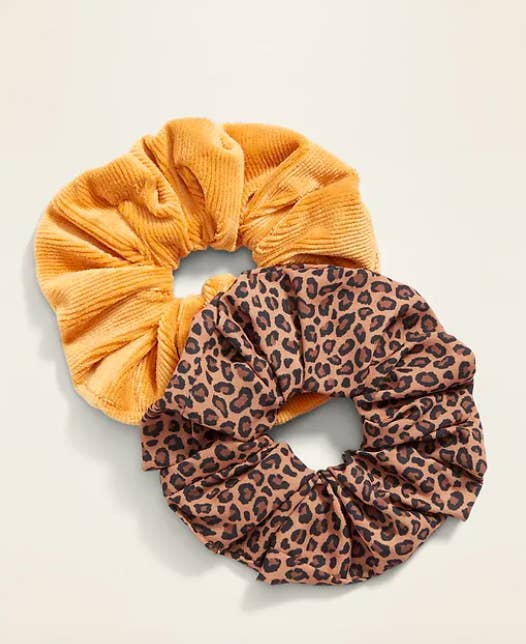 the scrunchies in leopard print and mustard color