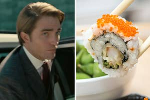 Robert Pattinson in Tenet on the left and a california roll on the right