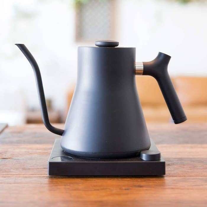 The black matte kettle with matching base