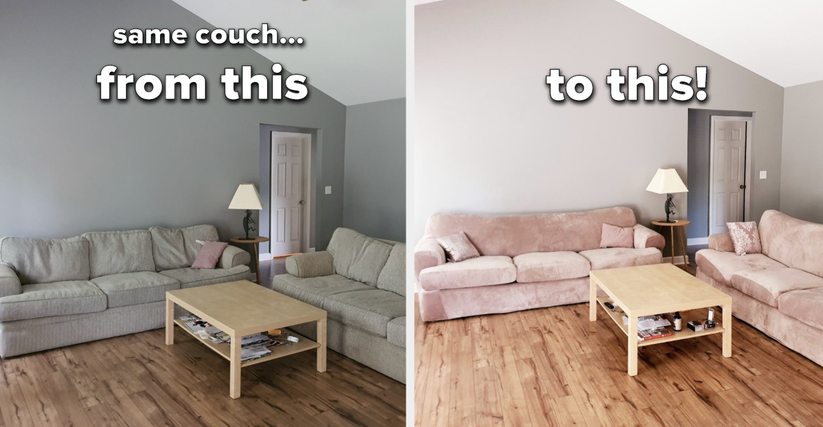 Reviewer before/after of their couch with the pink velvet slip added. The after pic shows couches that look brand new and completely different.