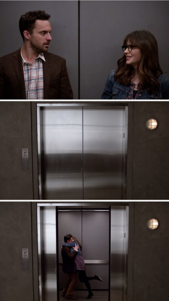 Jess and Nick smile at each other in an elevator, the doors close, and then they open again, Jess and Nick are kissing