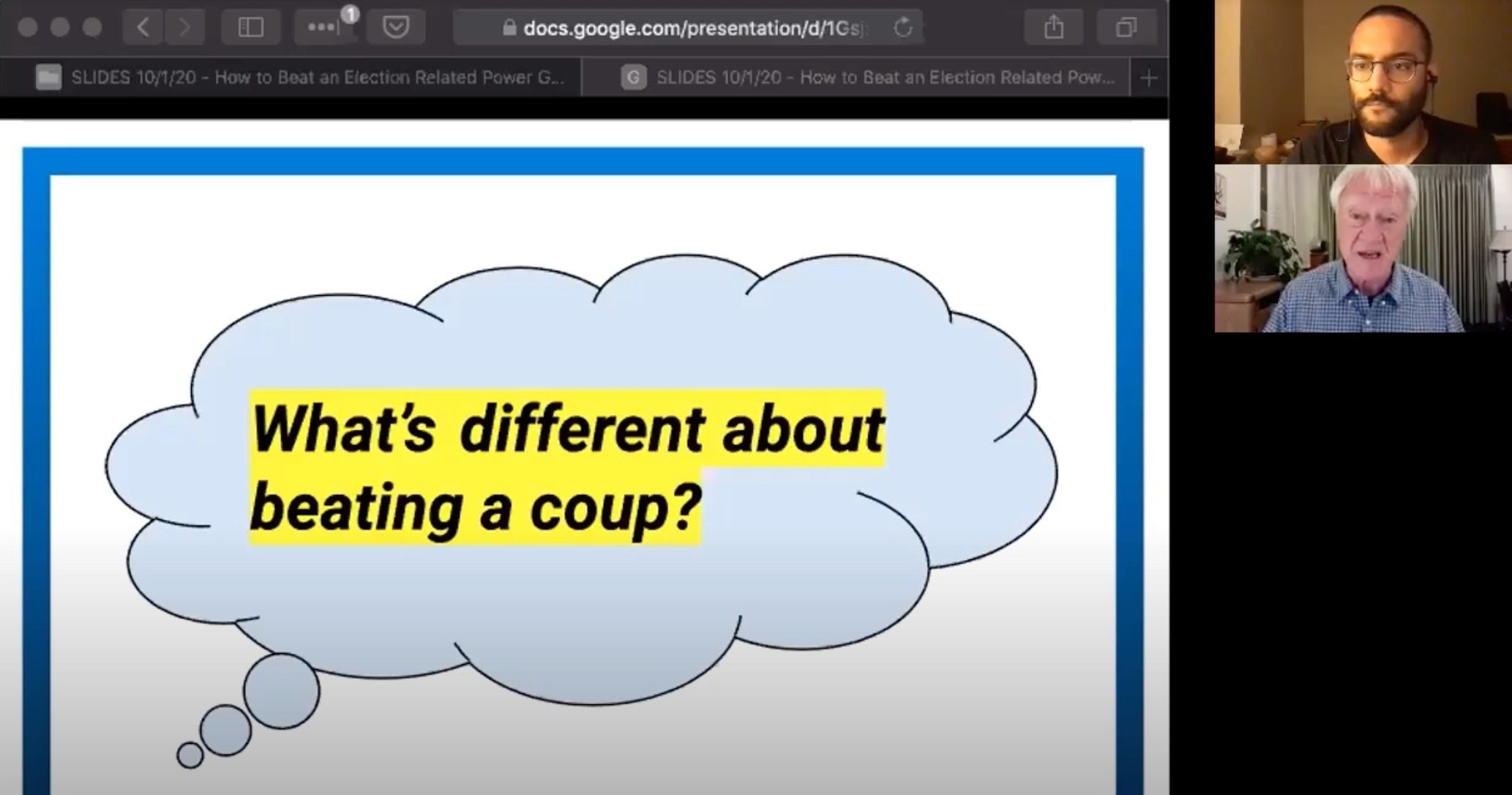 "A google presentation says ""What's different about beating a coup?"""