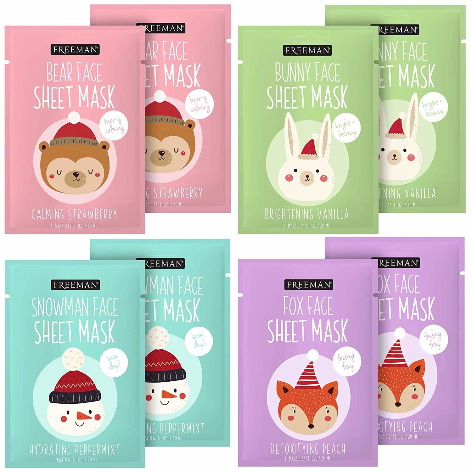 sheet masks with bears, snowmen, bunnies, and foxes