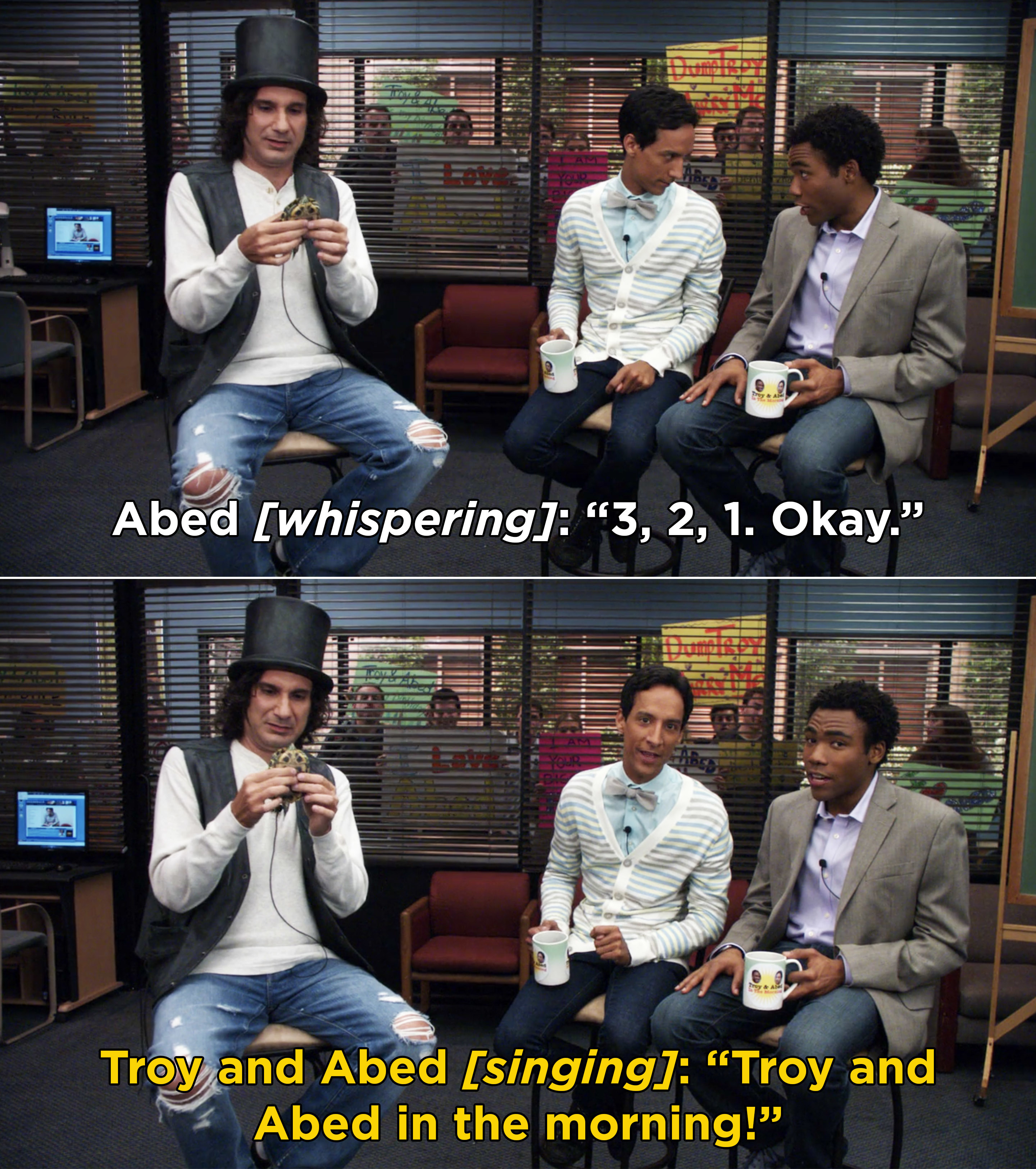 "Troy and Abed singing ""Troy and Abed in the morning"""