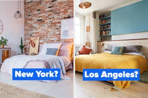 """""""New York?"""" over an exposed brick bedroom next to """"Los Angeles?"""" over an airy, wood-floored bedroom"""