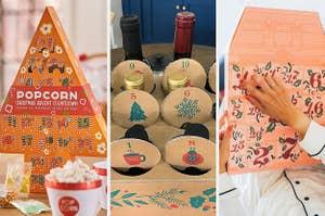 to the left: a popcorn advent calendar, middle: a wine advent calendar, to the right: a model opening a pink advent calendar