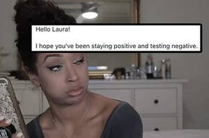 """An email that reads, """"I hope you've been staying positive and testing negative"""""""