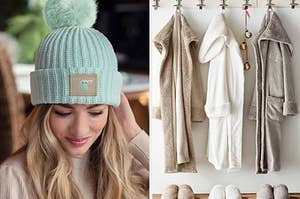 to the left: a model in a baby yoda beanie, to the right: three plush robes