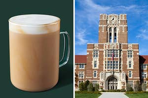 On the left, a latte from Starbucks, and on the right, a building on a college campus