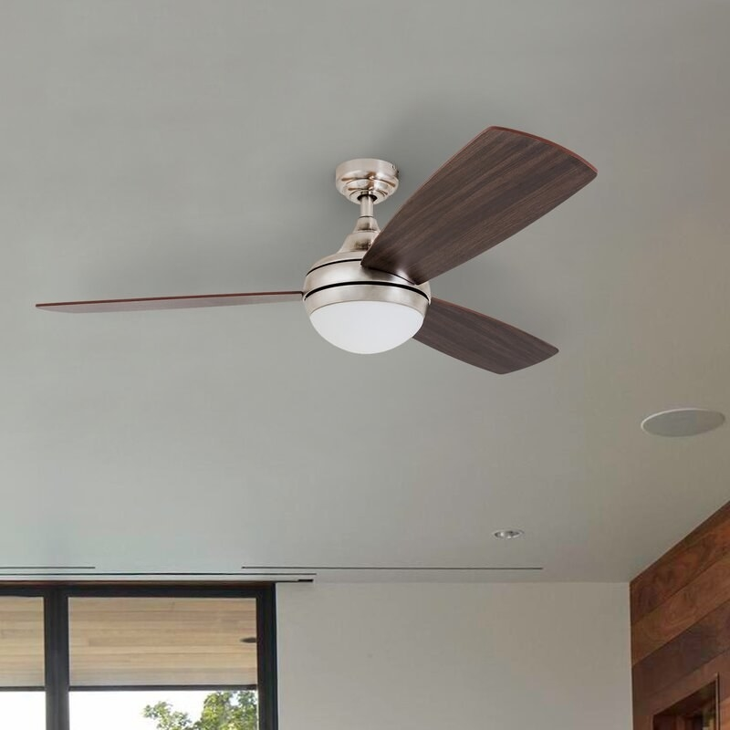 The fan in dark wood color, with a domed lightbulb at its center
