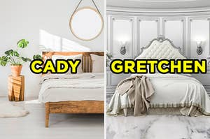 """On the left, a simple, sunny bedroom with a plant, bed, and round mirror hanging above the bed labeled """"Cady,"""" and on the right, a glamorous bedroom with marble floors and a princess bed labeled """"Gretchen"""""""