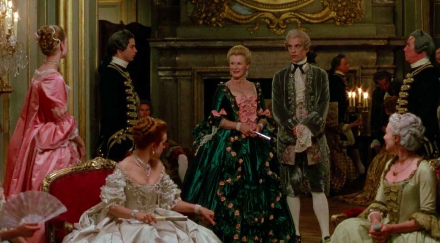"a group of people in period clothing in ""dangerous liaisons"""