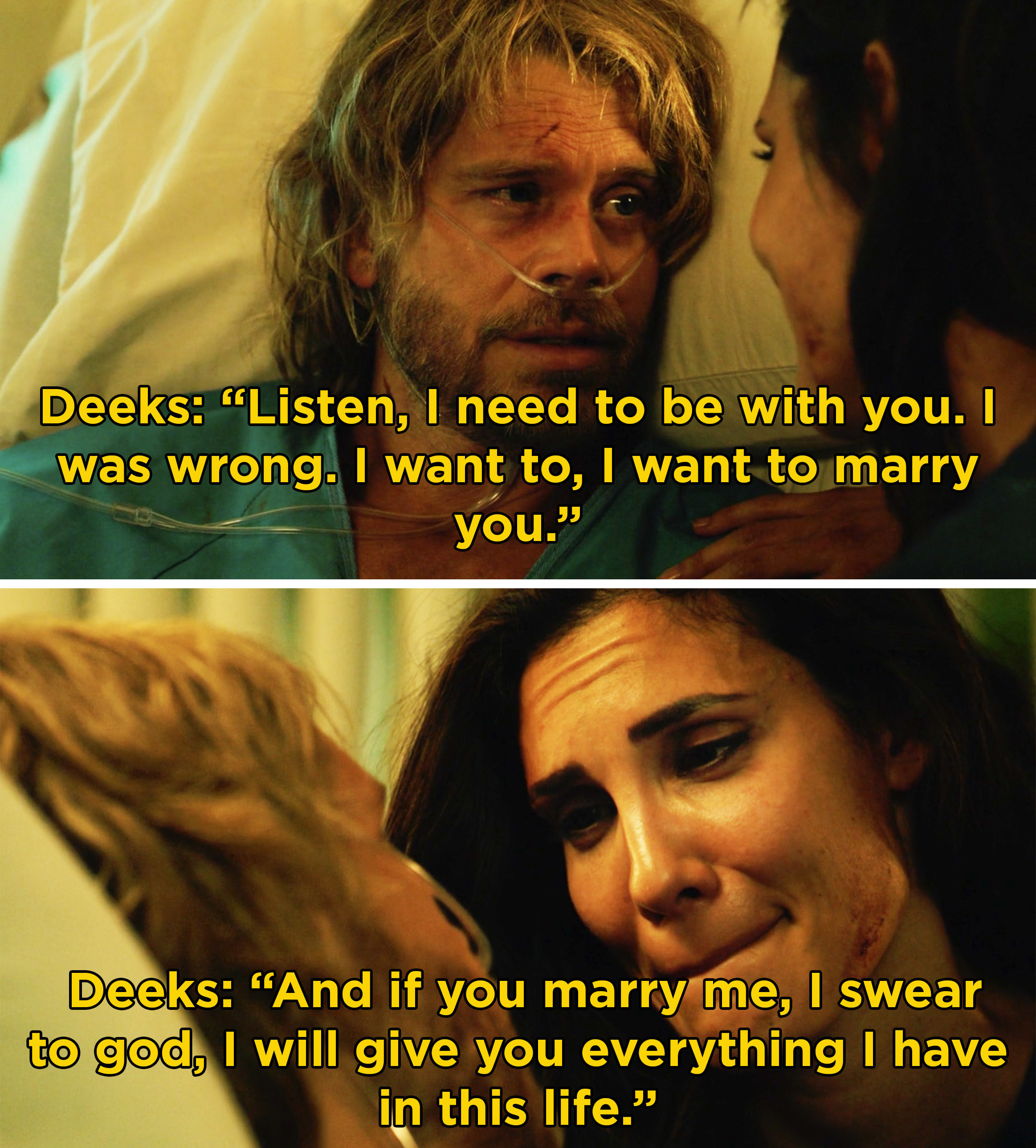 "Deeks telling Kensi that he wants to marry her and will give her ""everything I have in this life"""