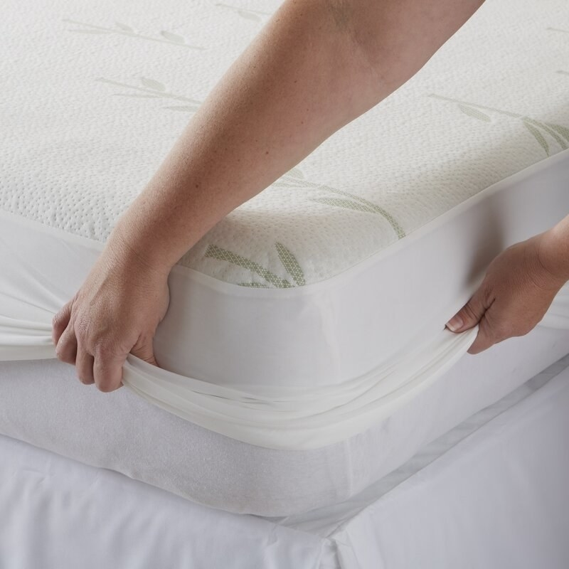 The protector, which is designed to roll completely over the edges of thick mattresses