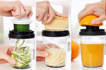 A model using the device to make zoodles, grate cheese, and squeeze an orange