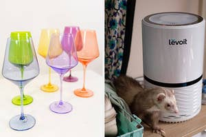 (left) Multi-colored stemmed wine glasses (right) White air purifier