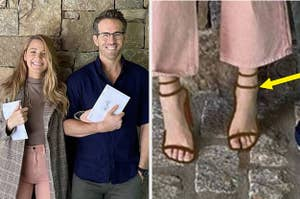 Blake and Ryan smiling with their voting ballots next to Blake's drawn on shoes