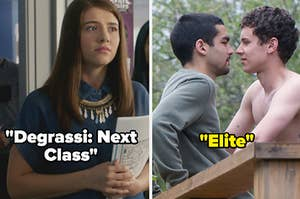 "Zoë from ""Degrassi: Next Class"" alongside Omar and Ander from ""Elite"""