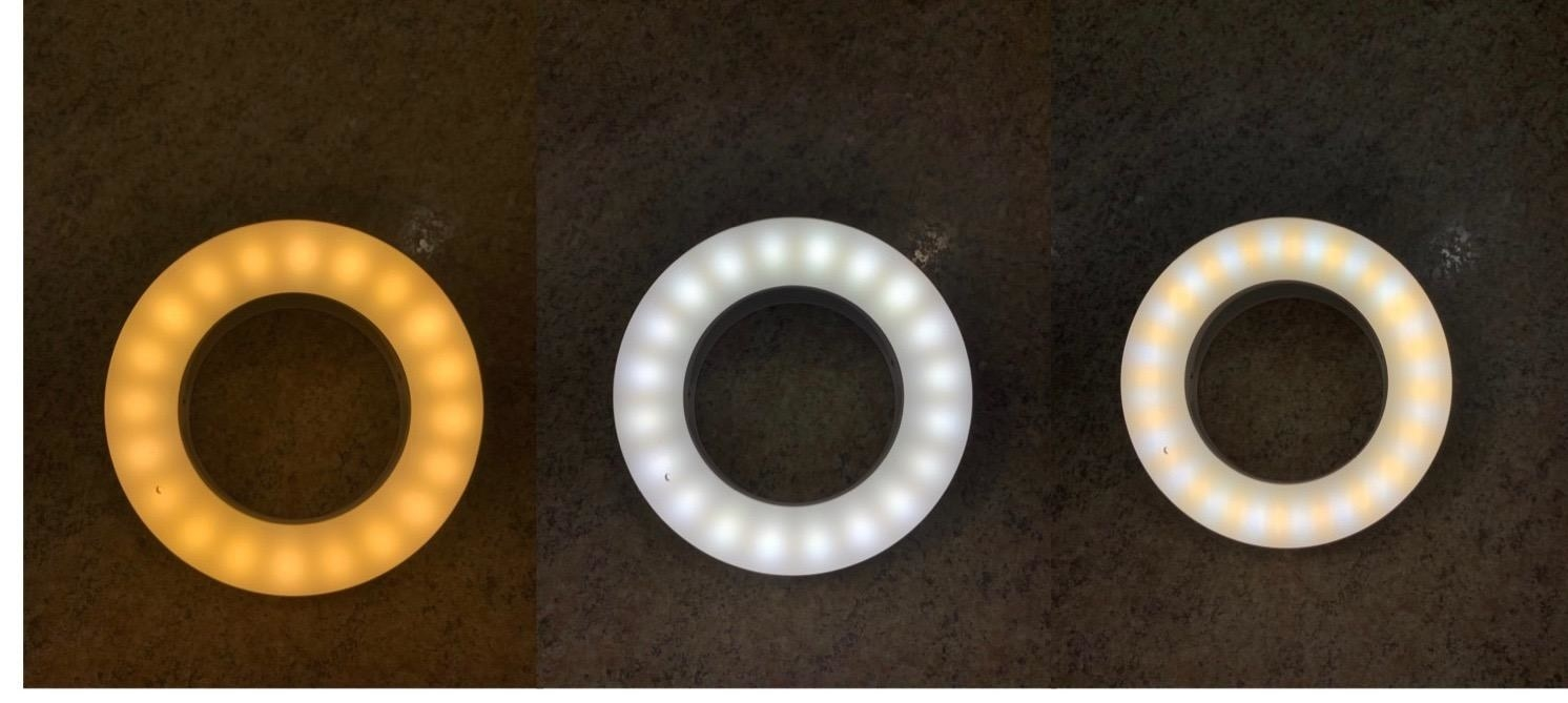 the ring light in three different settings