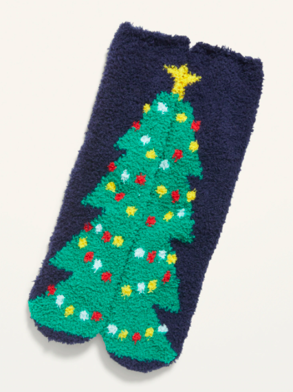 the socks wth the Christmas tree split in half between the pair so when they are together they form one tree