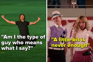 "Troy singing ""Am I the type of guy who means what I say"" and Sharpay singing ""A little bit is never enough"""