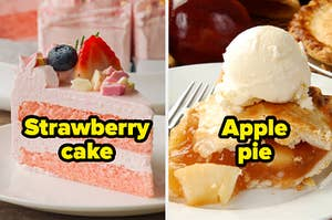Strawberry cake and apple pie