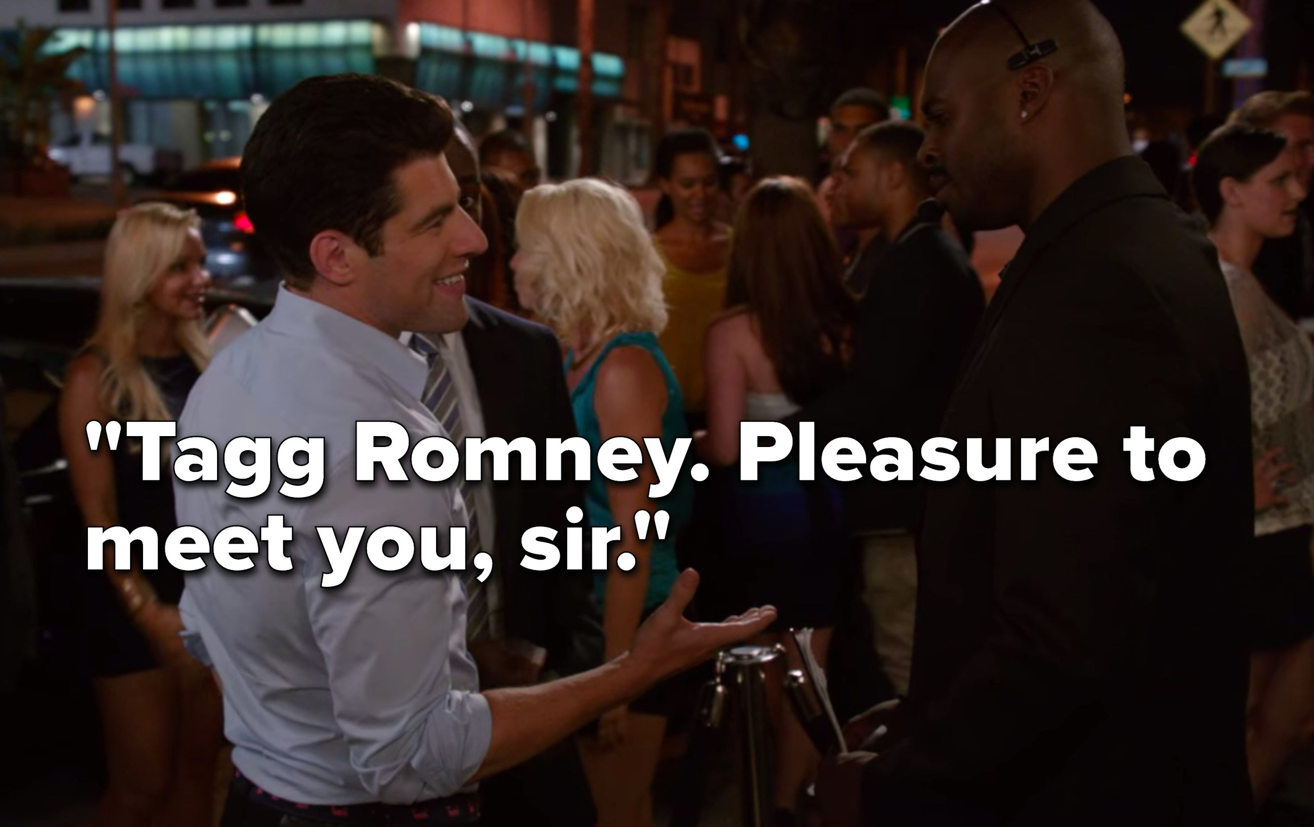 "Schmidt introduces himself to a bodyguard, ""Tagg Romney, pleasure to meet you, sir"""