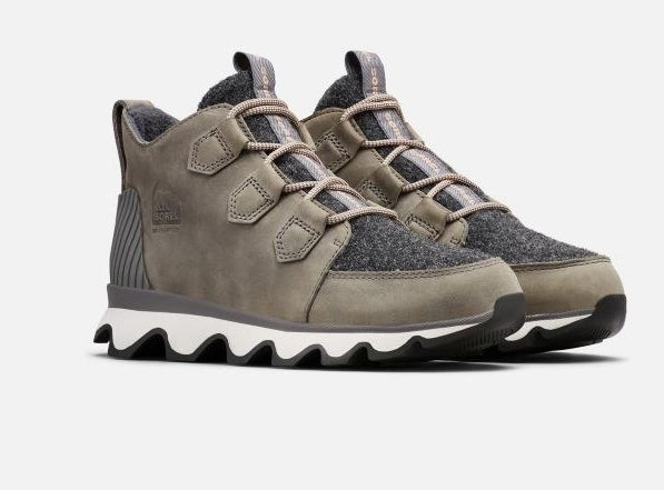 The sneaker-style shoe with white sole, olive green and dark grey body and laces.