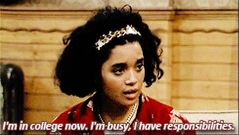 """Denise Huxtable from """"The Cosby Show"""" saying """"I'm in college now. I'm busy, I have responsibilities."""""""