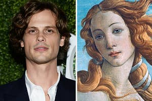 Side-by-side images of Matthew Gray Gubler and The Birth of Venus