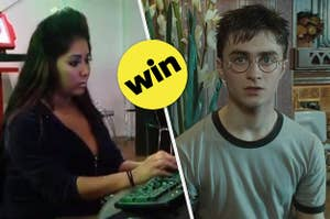 Snooki typing on the computer on the left and harry potter on the right