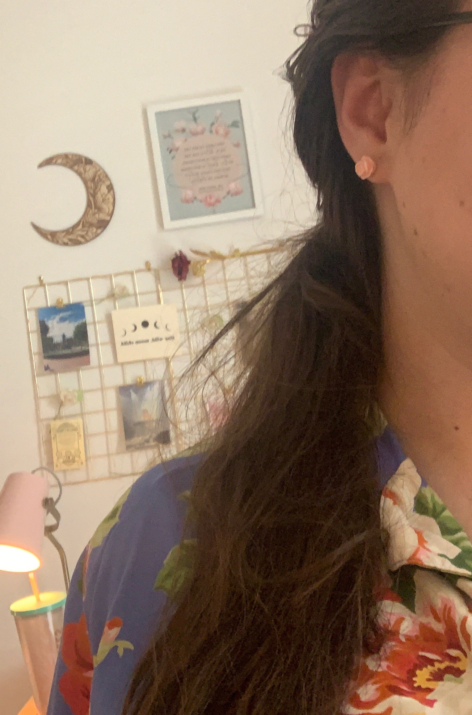 my hair fell back into a side ponytail