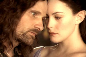 Arwen and Aragorn in an intimate embrace.