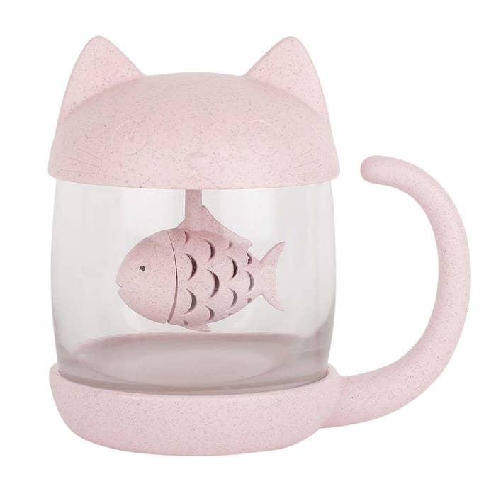 Cat and fish mug